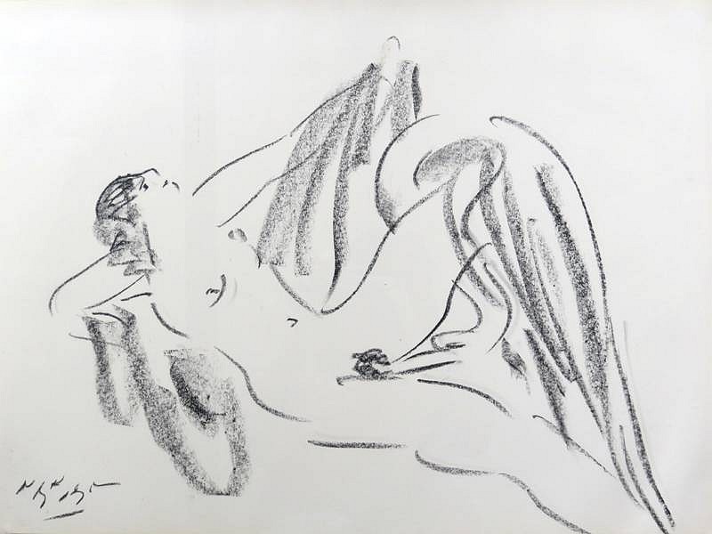 Reuben Nakian ,   Leda and the Swan  ,  1981     black litho crayon on paper ,  19 5/8 x 26 3/8 in. (49.9 x 67 cm)     RN60.80.136