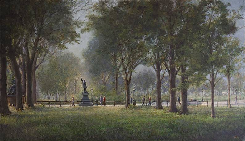 Marla Korr ,   Morning on the Mall (Central Park)  ,  2013     oil on canvas ,  21 x 36 in. (53.3 x 91.4 cm)     MK130401