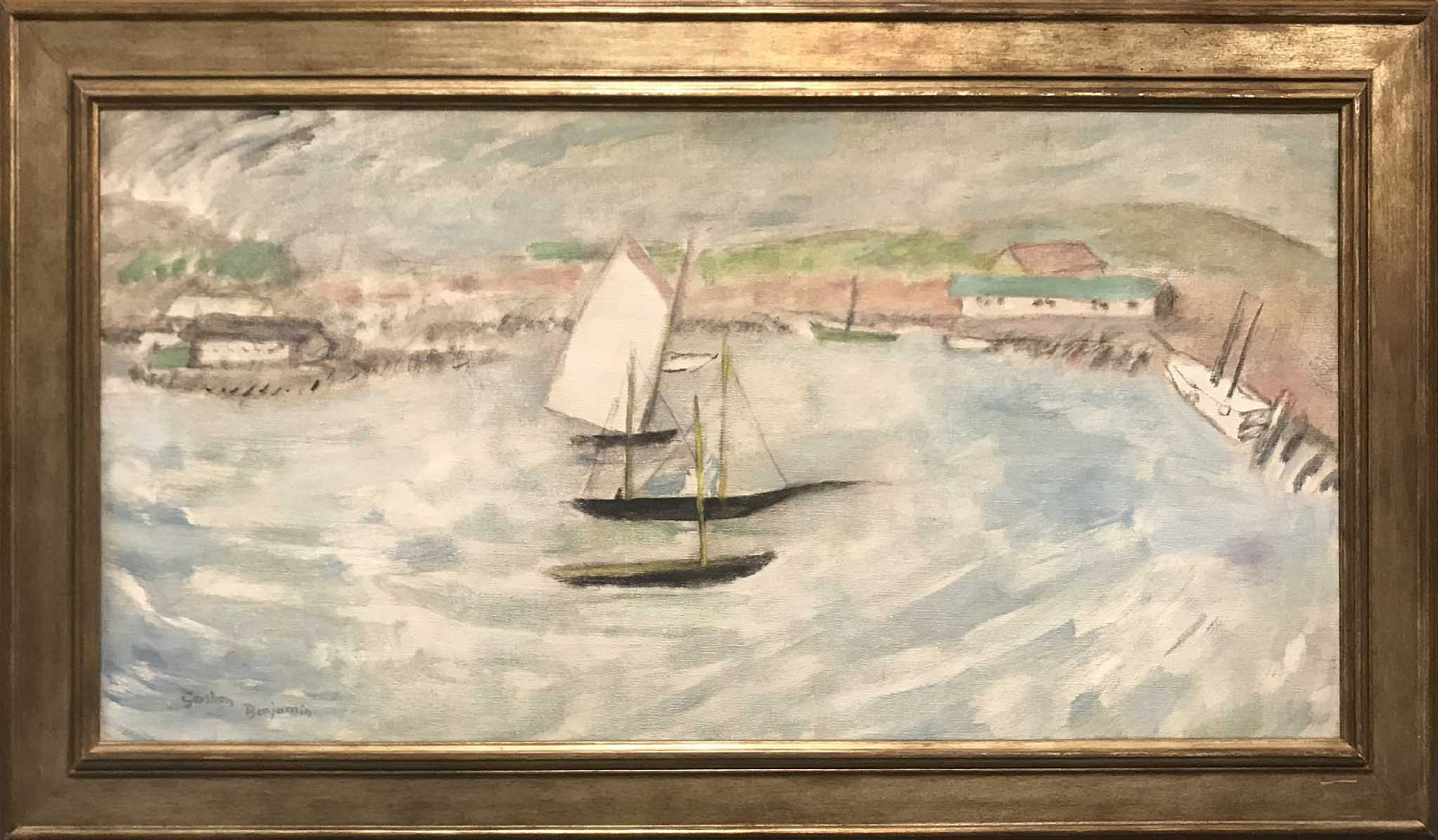 Gershon Benjamin ,   Gloucester Harbor #3  ,  1930 ca     oil on canvas ,  17 x 34 in. (43.2 x 86.4 cm)     GB1803021