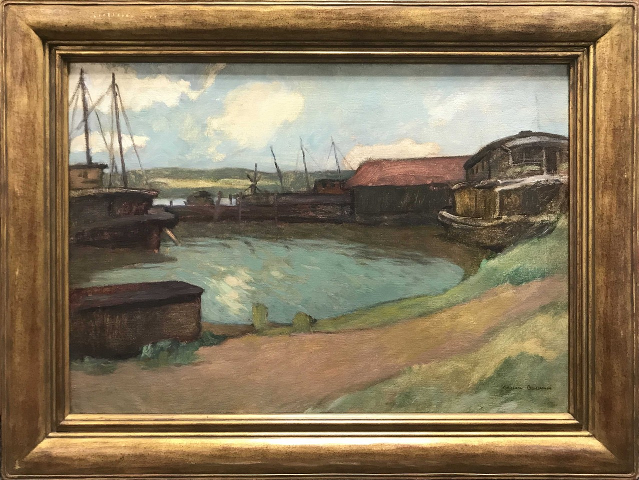 Gershon Benjamin ,   Gloucester Pier #1  ,  1930     oil on canvas ,  22 x 30 in. (55.9 x 76.2 cm)     GB1803025
