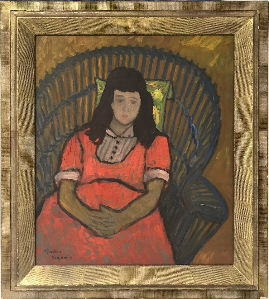 Gershon Benjamin ,   Little Girl  ,  1942 ca     oil on canvas board ,  20 x 17 in. (50.8 x 43.2 cm)     GB1803027