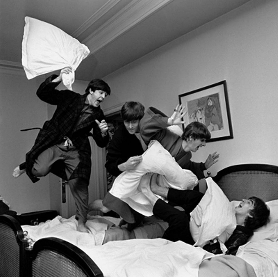 Harry Benson ,   Beatles Pillow Fight, Hotel George V, Paris, Edition of 35  ,  1964     photograph ,  44 x 44 in. (111.8 x 111.8 cm)     HB1200514